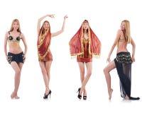 Set fotografie z brzucha tancerzem na bielu Obrazy Stock