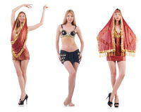 Set fotografie z brzucha tancerzem na bielu Obraz Royalty Free