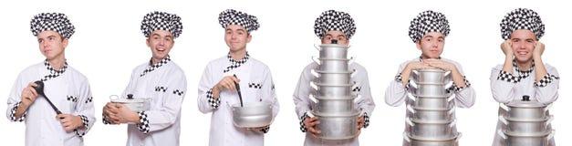 Set fotografie z śmiesznym kucharzem Zdjęcia Royalty Free