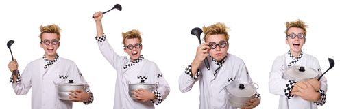 Set fotografie z śmiesznym kucharzem Zdjęcia Stock