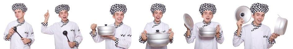 Set fotografie z śmiesznym kucharzem Obraz Stock