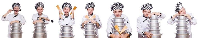 Set fotografie z śmiesznym kucharzem Fotografia Stock
