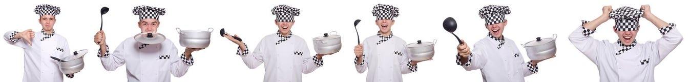 Set fotografie z śmiesznym kucharzem Fotografia Royalty Free