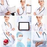 Set fotografii lekarki uśmiechnięci ludzie obraz stock