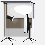 Set fotografii pracowniany wyposażenie, papierowy fotografii tło, lekkie miękkie płaskie ikony, błysk, odbłyśnik, softbox Obrazy Royalty Free