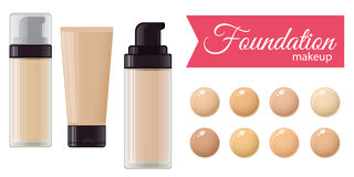 Set of foundation cream. For mackeup and color palette. Vector stock illustration Stock Images