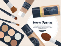 Set of foundation, powder and brushes on a table with space for your advertising. Vector Royalty Free Stock Image