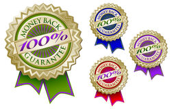 Set of Four 100% Money Back Guarantee Emblem Seals. Set of Four Colorful 100% Money Back Guarantee Emblem Seals With Ribbons Royalty Free Stock Photo