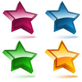Set of four 3D shiny stars. Pink, blue, yellow and green Royalty Free Stock Photos