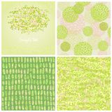 Set four abstract backgrounds of green color Stock Image