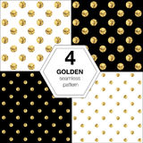 Set of four  abstract bright background with golden polka Stock Photo