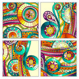 Set of four abstract doodle  vector cards Royalty Free Stock Photography