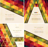 Set of four Abstract Geometric Background. Set of four abstract Retro Geometric Background with place for your text.Colorful abstract geometric background with Royalty Free Stock Images