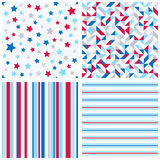 Set of four abstract geometric backgrounds. In red, blue, white colors. Vector seamless patterns Royalty Free Stock Images