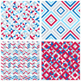 Set of four abstract geometric backgrounds. In red, blue, white colors. Vector seamless patterns Stock Illustration