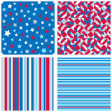 Set of four abstract geometric backgrounds. In red, blue, white colors. Vector seamless patterns Royalty Free Stock Photography