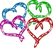 Set of four abstract hearts Royalty Free Stock Photos