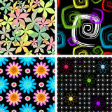 Set  four abstract seamless  black pattern Stock Image
