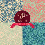 Set of four abstract seamless patterns, doodle ornaments Royalty Free Stock Photography