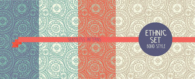 Set of four abstract seamless patterns, doodle ornaments Royalty Free Stock Photos