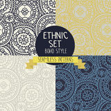 Set of four abstract seamless patterns, doodle ornaments Stock Photography