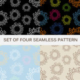Set of four abstract seamless patterns. Hand drawn vector illustration