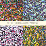 Set of four abstract seamless patterns Stock Image