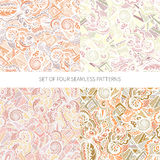 Set of four abstract seamless patterns Stock Images