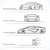Set of four abstract sports car silhouettes. Royalty Free Stock Photo