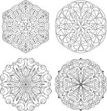 Set of four abstract vector round lace designs - mandalas, decor Royalty Free Stock Images