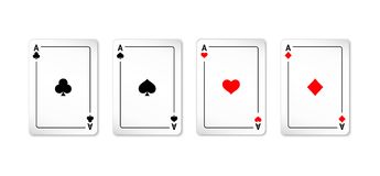 Set of four aces deck of cards. For playing poker and casino on white background. spades, diamonds, clubs and hearts Stock Photo