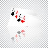Set of four aces playing cards suits. Winning poker hand. Set of hearts, spades, clubs and diamonds ace with reflection on transpa. Rent background Stock Photography