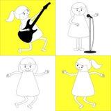Set of four active girls. Guitarist, singer, dancer in children play area or in kindergarten Stock Photography