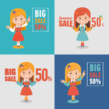 Set of four advertising shopping labels. Summer sale, big sale 50 percent.Banners seasonal discounts with character girl. Set of four advertising shopping labels Stock Photo