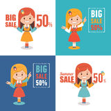 Set of four advertising shopping labels. Summer sale, big sale 50 percent.Banners seasonal discounts with character girl. Set of four advertising shopping labels Stock Photos