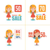 Set of four advertising shopping labels. Summer sale, big sale 50 percent.Banners seasonal discounts with character girl. Set of four advertising shopping labels Royalty Free Stock Image