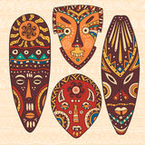 Set of four African masks Royalty Free Stock Images