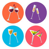 Set of four alcohol flat icons. Presented in the special glassses for wine, champagne, liquor and martini. Fully editable vector illustration. Perfect for Royalty Free Stock Images