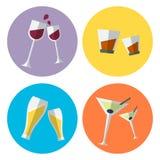 Set of four alcohol flat icons Stock Photo