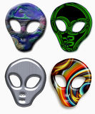 Set of four alien heads Royalty Free Stock Image
