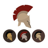 Set of four antique helmets, vector illustration Royalty Free Stock Image