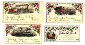 Set of four Antique merit certificates Royalty Free Stock Images