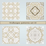 Set of four arabesque seamless pattern stock illustration