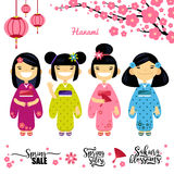 Set of four Asian girl, Sakura, spring discounts. Elements for hanami festival, sakura blossom season. Vector Stock Photos