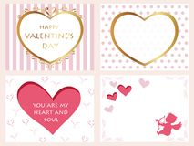 A set of four assorted Valentine's Day cards,  illustration. A set of four assorted Valentine's Day cards with text space,  illustration Stock Images