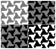 Set of Four B&W Seamless Patterns. Triangle Elemen Royalty Free Stock Photo