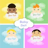 A set of four baby shower cards with children of different nationalities and clouds. Vector illustration stock illustration