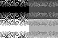 Set of four background - lines in perspective. Vector illustration. Set of abstract background with a perspective lines. Monochrome vector pattern Royalty Free Stock Photos