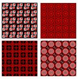Set of four background tiles in red, white and black design with fine geometric symmetric patterns Stock Photos