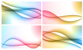 Set of four backgrounds. Set of four beautiful colourful wavy backgrounds Stock Photo